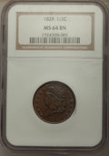 Half Cents: , 1828 1/2 C 13 Stars MS64 Brown NGC. NGC Census: (85/17). PCGS Population: (98/18). CDN: $600 Whsle. Bid for problem-free NG...