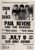 Music Memorabilia:Posters, Paul Revere & the Raiders 1969 Boxing-Style Concert Poster.....