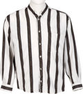Music Memorabilia:Costumes, Elton John Owned Black Striped Long-Sleeved Shirt....