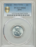 Lincoln Cents, 1943-D 1C Repunched Mintmark MS66 PCGS Gold Shield. PCGS Population: (5163/2575 and 58/71+). NGC Census: (3819/3409 and 6/3...