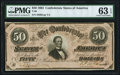 Confederate Notes:1864 Issues, T66 $50 1864 PF-5 Cr. 498 PMG Choice Uncirculated 63 EPQ.. ...