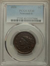 1838 1C N-6, R.1, XF40 PCGS. PCGS Population: (3/7). NGC Census: (0/20). XF40. Mintage 6,370,200. ...(PCGS# 37195)