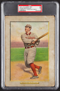 1910-11 T3 Turkey Red Roger Bresnahan (Checklist 1-76 Back) #4 PSA Poor 1