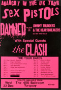 "Music Memorabilia:Posters, Sex Pistols / The Clash / Damned / Johnny Thunders ""Anarchy in the UK"" Tour Poster (1976).. ..."