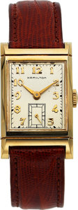 Timepieces:Wristwatch, Hamilton, Gilmore, 10K Yellow Gold, Manual Wind, Circa 195...