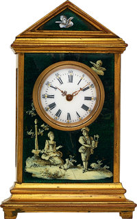 Swiss Miniature Enameled Clock, circa 1880's
