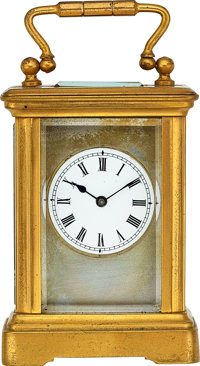 Miniature Brass Clock, circa 1890