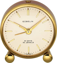 Gubelin 8 Day Red Enamel Deco Mini Alarm Clock, circa 1930