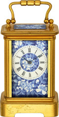 Timepieces:Clocks, French Small Gilt & Blue Porcelain Floral Motif Clock, circa 1890. ...