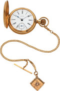 Timepieces:Pocket (pre 1900) , Waltham 14k Gold 18 Size P.S. Bartlett Model 83, 14k Gold Chain. ...