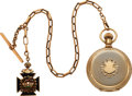 Timepieces:Pocket (pre 1900) , Waltham 14k Gold 18 Size Appleton Tracy & Co.. 14k Gold Chain, Masonic Fob. ...