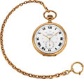 Timepieces:Pocket (post 1900), Tavannes Large 56 mm 18k Gold Watch, 14k Gold Chain. ...