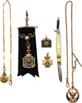 Timepieces:Watch Chains & Fobs, Five 14k Gold Masonic Fobs, Two With 14k Chains, One 14k Gold Masonic Pen Knife. ... (Total: 6 Items)