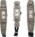 Timepieces:Wristwatch, Three Swiss Platinum & Diamond Antique Baguette Wristwatches. ... (Total: 3 Items)