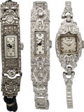 Timepieces:Wristwatch, Three Platinum & Diamond Wristwatches. ... (Total: 3 Items)