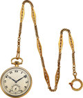 Timepieces:Pocket (post 1900), Merimont Watch Co. Platinum & Gold Watch, 14k Gold Chain. ...
