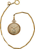 Timepieces:Pocket (post 1900), Tiffany & Co. 14K Gold By International Watch Co., 10k Gold Chain. ...