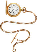 Timepieces:Pocket (post 1900), Hamilton Choice 14k Gold Grade 991 With 14k Gold Chain. ...