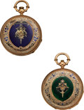 Timepieces:Pocket (pre 1900) , Two F. Huguenin Gold & Enamel Key Winds. ... (Total: 2 Items)