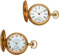 Timepieces:Pocket (post 1900), South Bend & Waltham 14k Gold O Size Hunters. ... (Total: 2 Items)