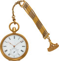 Timepieces:Pocket (pre 1900) , Swiss Very Fine 18k Gold Cased Spring Detent Chronometer, 14k Gold Fob Chain. ...