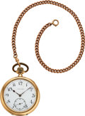 Timepieces:Pocket (post 1900), Vacheron Constantin 14k Gold 51 mm Watch, 10k Gold Chain. ...
