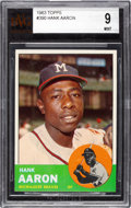 Baseball Cards:Singles (1960-1969), 1963 Topps Hank Aaron #390 BVG Mint 9 - Pop Two, None Higher....