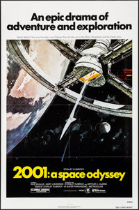"2001: A Space Odyssey (MGM, R-1980). Folded, Very Fine+. One Sheet (27"" X 41"") Robert McCall Artwork. Science..."