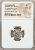 Ancients:Roman Imperial, Ancients: Diocletian (AD 284-305). AR argenteus (18mm, 3.26 gm, 12h). NGC AU 5/5 - 4/5....
