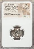 Ancients:Roman Imperial, Ancients: Augustus (27 BC-AD 14). AR denarius (18mm, 3.74 gm, 4h).NGC XF 4/5 - 3/5....