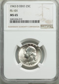 Washington Quarters, 1943-D 25C Doubled Die Obverse, FS-101, MS65 NGC. PCGS Population: (6/2). MS65. Mintage 16,095,600. ...