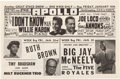 Music Memorabilia:Posters, Harlem's Apollo Theater 1953 Duke Ellington / Ruth Brown ConcertHandbill.. ...
