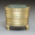 Metalwork, A Chinese Bronze Tripod Censer, Qing Dynasty. Marks: Cast four-character Yu Tang Qing Wan mark. 3-5/8 x 4-1/8 x 4-1/8 inches...