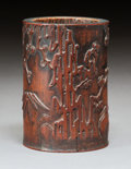 Carvings, A Chinese Bamboo Three Friends of Winter Brushpot, Qing Dynasty. 5 x 3-1/2 inches (12.7 x 8.9 cm). ...