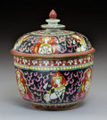 Ceramics & Porcelain, A Chinese Enameled Porcelain Bencharong Bowl with Cover, . Qing Dynasty. 7-1/4 x 6-1/2 inches (18.4 x 16.5 cm). ...