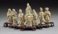 Metalwork, A Group of Chinese Bronze Figures Depicting the Eight Immortals, late 19th-early 20th century. 4 x 2-7/8 x 1-3/8 inches (10.... (Total: 8 Items)