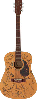 Country Icons Signed Acoustic Guitar in a Beautiful Mahogany Display Case George Jones, Ray Price, Loretta Lynn, Roy Acu...