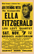"""Music Memorabilia:Posters, Ella Fitzgerald 1959 Concert Poster Right in the Middle of Her""""Song Book"""" Series.. ..."""