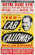 Music Memorabilia:Posters, Cab Calloway/Harlem Globetrotters Notre Dame Gym Concert P...