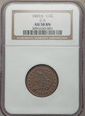 1809/6 1/2 C 9 Over Inverted 9, C-5, B-5, R.1, AU58 NGC. NGC Census: (48/42). PCGS Population: (1/8). AU58. Mintage 1,15...
