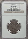 1809 1/2 C AU58 NGC. NGC Census: (55/83). PCGS Population: (36/76). CDN: $400 Whsle. Bid for problem-free NGC/PCGS AU58...
