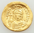Ancients:Byzantine, Ancients: Justinian I the Great (AD 527-565). AV solidus (21mm, 4.46 gm, 6h). Choice AU, slight bend, punches....