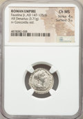 Ancients:Roman Imperial, Ancients: Faustina Junior (AD 147-175/6). AR denarius (17mm, 3.71gm, 6h). NGC Choice MS 4/5 - 5/5....