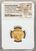 Ancients:Byzantine, Ancients: Heraclius (AD 613-641) and Heraclius Constantine. AV solidus (21mm, 4.42 gm, 7h). NGC MS 4/5 - 4/5....