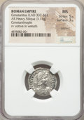 Ancients:Roman Imperial, Ancients: Constantius II, as Augustus (AD 337-361). AR heavysiliqua (20mm, 3.11 gm, 12h). NGC MS 5/5 - 3/5, brushed....