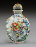 Carvings, A Chinese Famille Rose Enameled Porcelain Snuff Bottle, Qing Dynasty. 3 x 1-7/8 x 1-1/4 inches (7.6 x 4.8 x 3.2 cm). ...