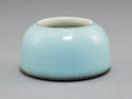 Ceramics & Porcelain, An Imperial Pale Blue Glazed Porcelain Water Coupe, Qing Dynasty, Yongzheng . Marks: Four-character Yongzheng mark in underg...