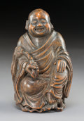 Carvings:Chinese, A Chinese Carved Bamboo Monk, mid-Qing Dynasty. 6-3/4 x 4 x 3 inches (17.1 x 10.2 x 7.6 cm). ...