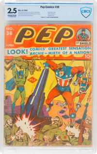 Pep Comics #38 (MLJ, 1943) CBCS GD+ 2.5 Slightly brittle pages
