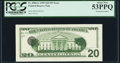 Third Printing on Back Error Fr. 2086-G $20 1999 Federal Reserve Note. PCGS About New 53PPQ